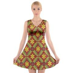 Abstract Yellow Red Frame Flower Floral V-Neck Sleeveless Skater Dress