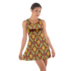 Abstract Yellow Red Frame Flower Floral Cotton Racerback Dress