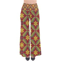Abstract Yellow Red Frame Flower Floral Pants