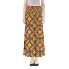 Abstract Yellow Red Frame Flower Floral Maxi Skirts