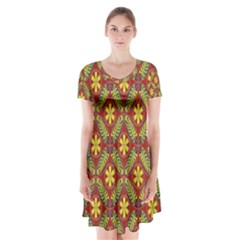 Abstract Yellow Red Frame Flower Floral Short Sleeve V-neck Flare Dress
