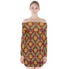 Abstract Yellow Red Frame Flower Floral Long Sleeve Off Shoulder Dress