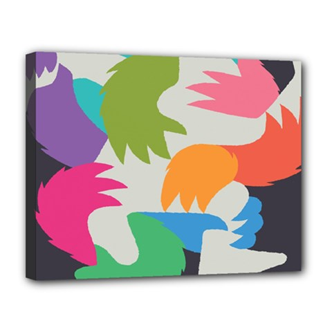 Hand Rainbow Blue Green Pink Purple Orange Monster Canvas 14  x 11