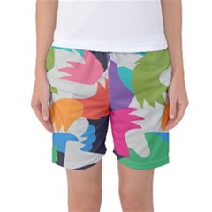 Hand Rainbow Blue Green Pink Purple Orange Monster Women s Basketball Shorts