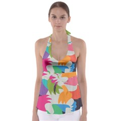 Hand Rainbow Blue Green Pink Purple Orange Monster Babydoll Tankini Top