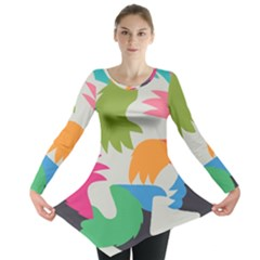Hand Rainbow Blue Green Pink Purple Orange Monster Long Sleeve Tunic
