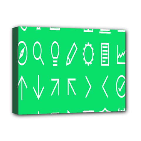 Icon Sign Green White Deluxe Canvas 16  x 12