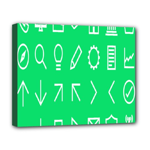 Icon Sign Green White Deluxe Canvas 20  x 16
