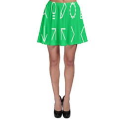 Icon Sign Green White Skater Skirt