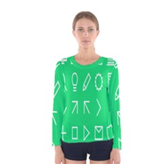 Icon Sign Green White Women s Long Sleeve Tee