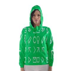 Icon Sign Green White Hooded Wind Breaker (Women)