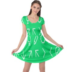 Icon Sign Green White Cap Sleeve Dresses