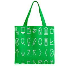Icon Sign Green White Zipper Grocery Tote Bag