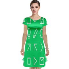 Icon Sign Green White Cap Sleeve Nightdress