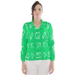 Icon Sign Green White Wind Breaker (Women)