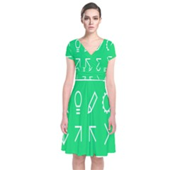Icon Sign Green White Short Sleeve Front Wrap Dress