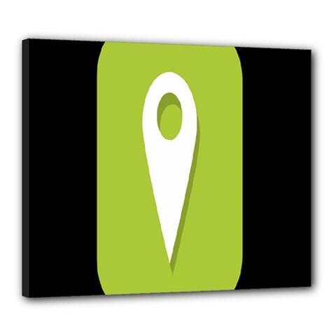 Location Icon Graphic Green White Black Canvas 24  x 20