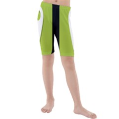 Location Icon Graphic Green White Black Kids  Mid Length Swim Shorts