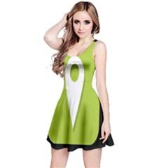 Location Icon Graphic Green White Black Reversible Sleeveless Dress