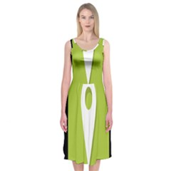 Location Icon Graphic Green White Black Midi Sleeveless Dress