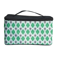 Crown King Triangle Plaid Wave Green White Cosmetic Storage Case