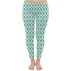 Crown King Triangle Plaid Wave Green White Classic Winter Leggings
