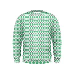 Crown King Triangle Plaid Wave Green White Kids  Sweatshirt