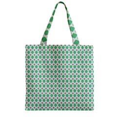 Crown King Triangle Plaid Wave Green White Zipper Grocery Tote Bag