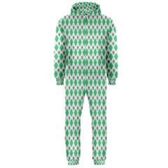 Crown King Triangle Plaid Wave Green White Hooded Jumpsuit (Men)