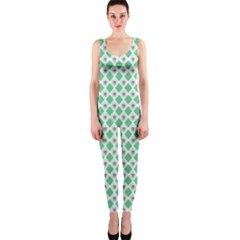 Crown King Triangle Plaid Wave Green White OnePiece Catsuit