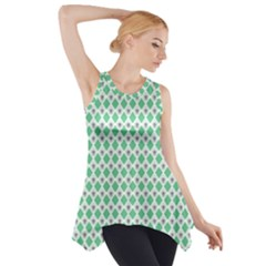 Crown King Triangle Plaid Wave Green White Side Drop Tank Tunic