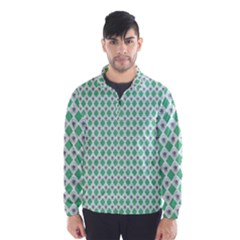 Crown King Triangle Plaid Wave Green White Wind Breaker (Men)