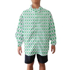 Crown King Triangle Plaid Wave Green White Wind Breaker (Kids)