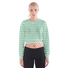 Crown King Triangle Plaid Wave Green White Women s Cropped Sweatshirt