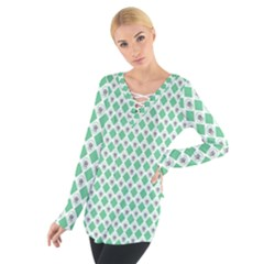 Crown King Triangle Plaid Wave Green White Women s Tie Up Tee