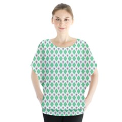 Crown King Triangle Plaid Wave Green White Blouse