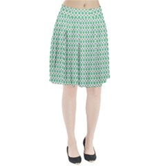 Crown King Triangle Plaid Wave Green White Pleated Skirt