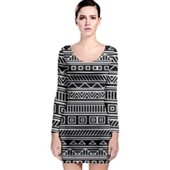 Myria Wrapping Paper Black Long Sleeve Bodycon Dress