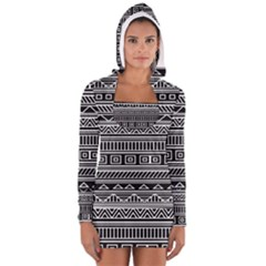 Myria Wrapping Paper Black Women s Long Sleeve Hooded T-shirt