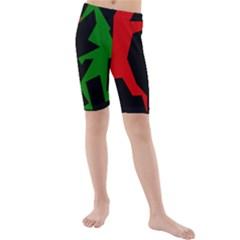 Ninja Graphics Red Green Black Kids  Mid Length Swim Shorts