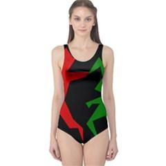 Ninja Graphics Red Green Black One Piece Swimsuit