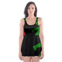 Ninja Graphics Red Green Black Skater Dress Swimsuit