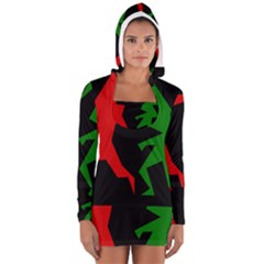 Ninja Graphics Red Green Black Women s Long Sleeve Hooded T-shirt