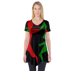 Ninja Graphics Red Green Black Short Sleeve Tunic