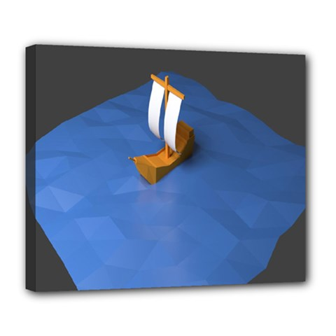 Low Poly Boat Ship Sea Beach Blue Deluxe Canvas 24  x 20