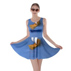Low Poly Boat Ship Sea Beach Blue Skater Dress