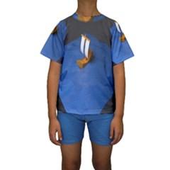 Low Poly Boat Ship Sea Beach Blue Kids  Short Sleeve Swimwear