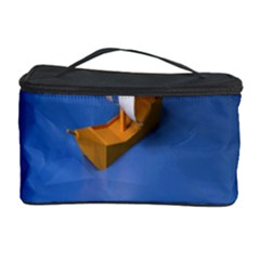Low Poly Boat Ship Sea Beach Blue Cosmetic Storage Case