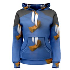 Low Poly Boat Ship Sea Beach Blue Women s Pullover Hoodie