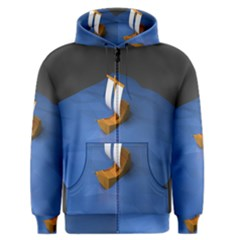 Low Poly Boat Ship Sea Beach Blue Men s Zipper Hoodie
